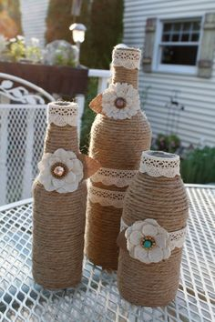 Reuse Bottles Of Wine Or Beer And Convert Into Beautiful Ornaments Using A Little Jute And Rustic Thread. Glass Bottle Crafts, Wine Bottle Art, Diy Bottle, Glass Bottles, Reuse Bottles, Recycled Bottles, Jute Crafts, Diy And Crafts, Wrapped Wine Bottles