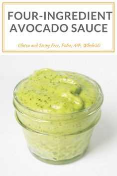 Four-Ingredient Avocado Sauce does double duty as a sandwich spread sauce for your favorite veggies or meat you can even thin it out to use as a salad dressing. Make ahead less than 5 minutes to make and is AIP compliant paleo vegan nut egg gluten Avacado Sauce, Avocado Cream Sauces, Avacado Dip, Guacamole Sauce, Fish Taco Sauce, Creamy Avocado Sauce, Avocado Crema, Avocado Dessert, Avocado Spread