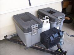 Metal Trailer Battery/propane Box | storage boxes and 10lb. propane in the middle, battery in front