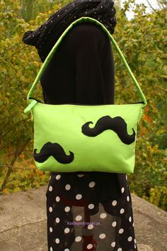 Torebka damska - Mustingreen- kochamkropki- mustache