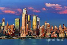 Sundown New York Style by Regina Geoghan. A gorgeous array of colors transforms the look of the midtown Manhattan skyline as the sun sets to the west. Prints available in a variety of sizes and types. Click image to see available options. Blue Artwork, One World Trade Center, Manhattan Skyline, New York Central, Sun Sets, New York Style, Nature Paintings, New York City, Skyscraper