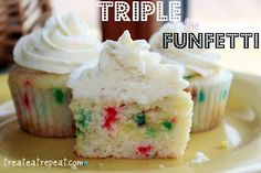 Triple the Funfetti Cupcakes. Funfetti cupcakes, with funfetti pudding in the middle, and Funfetti CAKE BATTER frosting!