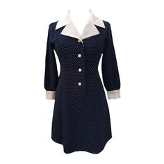 1970s navy polkadot vintage dress