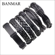 BANMAR 6 Pcs Vintage Multilayer Pu Leather Bracelets for Male Cuff Bracelet Beads Braclet Women Braslet Men Pulseras Hombre #Affiliate