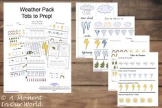 Here is a fabulous Weather Pack for the younger children. The tots to preps. Over 100 pages of amazingly fun activities.  Weather Pack – Tots to Prep Includes: flashcards handwriting practice counting practice dominoes tic tac toe learning colours sentence writing 3 part cards size sequencing odd one out finish the patterns puzzles dot …