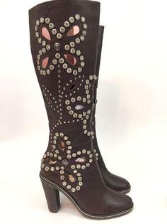 11fb002292dfd4 NYLA TIARA (5) Brown Silver Stud Laser Cut Knee High Boots Women s Size US  5  NYLA  KneeHighBoots  Any