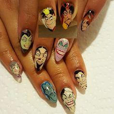 Disney villian nails #disney #disneyvillians #handpainted @nailsbyem