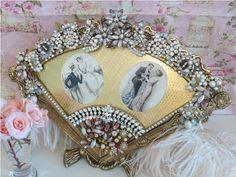 A Dazzling Vintage Fan Shaped Vanity Frame- Victorian Pink & Mauve Elegance-doll, jewels, crown, sea, cottage, romantic, mirror, Juliana, Weiss, Eisenberg, Lisner, Pink