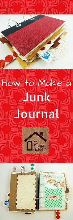 to Make a Junk Journal Learn how to turn an old book into a junk journal.Learn how to turn an old book into a junk journal. Journal Ideas Smash Book, Art Journal Inspiration, Art Journal Pages, Art Journals, Journal Cards, Journal Covers, Journal Prompts, Diy Journal Books, Vintage Journals