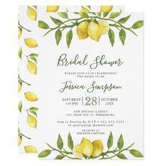Lemons Blossom Greenery Watercolor Bridal Shower Invitation Bridal Shower Invitation Wording, Rustic Invitations, Floral Invitation, Wedding Invitation Cards, Invitation Ideas, Invite, Elegant Bridal Shower, My Bridal Shower, Elegant Wedding