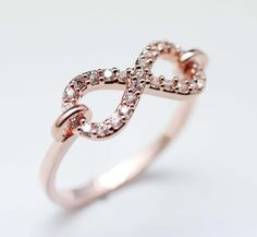 Linked Infinity Ring with Tiny cubic zirconia