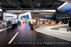 Floor graphics leading to the booth - love it! Software AG - CeBIT Hannover 2014 | Schmidhuber