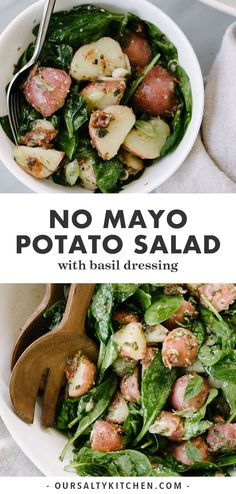 potato salad with basil vinaigrette is a healthy flavorful side dish Its naturally vegan and gluten free and ready in just 30 minutes This is a such an easy and delicious. Vegan Potato Salads, Healthy Salad Recipes, Whole Food Recipes, Vegetarian Recipes, Vegan Vegetarian, Potluck Recipes, Snacks Sains, Food For A Crowd, The Fresh