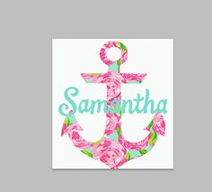 Lilly P  Glitter Monogram Initial Anchor  Color Vinyl Decal - Anchor monogram car decal