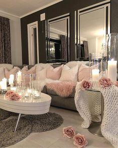 Be inspired with this modern Living Room Decor Design Idea. Be inspired with this modern Living Room Decor Design Idea. Glam Living Room, Living Room Decor Cozy, Home And Living, Modern Living, Small Living, Modern Room, Living Room Inspiration, Home Decor Inspiration, Decor Ideas