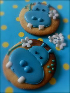 Happy Hippo Baby Shower Iced Cookies