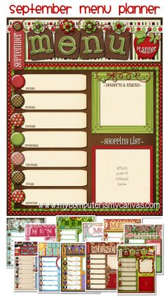 Cute weekly menu planners... one for every month. #mycomputerismycanvas