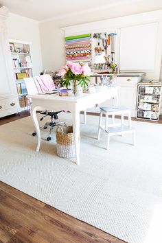 FLOR modular rug tiles used in a craft room