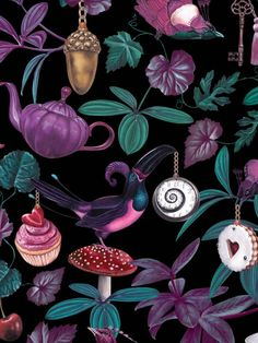 The sumptuous fine art influence and digital print finish bring the charming features to life in these delightful designs by Witch and Watchman. Belladonna Light is full of intricate and quirky details with fantastical birds, dainty cakes and tea party elements set against lush foliage on the black background. This quality wallpaper benefits from being a paste the wall paper, which means it is incredibly easy to apply and work with whilst decorating. Dark Witch, Tropical Wallpaper, Dark Wallpaper, Exotic Pets, Designer Wallpaper, Pet Birds, Black Backgrounds, Flamingo, Tea Party