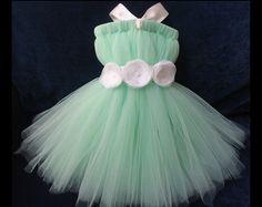 flower girl dress seafoam seafoam dress by Theprincessandthebou