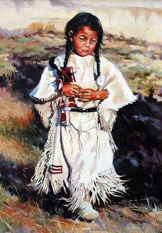 """Prized Possession"" - 24"" x 30"" Oil on Linen -Outstanding Indian Art Native American Art - Native American ArtOriginal Oil Paintings"