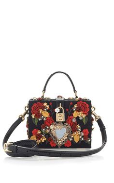 Sacred Heart And Carnation Embroidered Box Bag by Dolce & Gabbana for Preorder on Moda Operandi