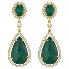 Penny Preville Oval & Pear Shape Emerald Earring