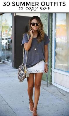 The oversized gray tee and the laced bandage skirt is LOVE. :D
