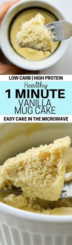 Mug cake lovers rejoice! This is an easy and healthy low carb vanilla mug cake recipe that requires few ingredients, 1 minute, and only a microwave to make!