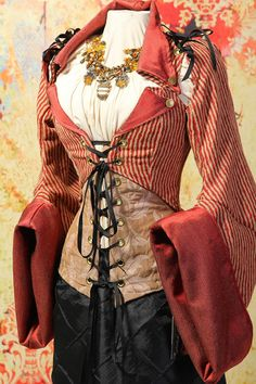 NEW-Bust 34 to 36- Pirate Stripe Empire Coat with Detachable Sleeves and Coat Tails