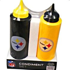 NFL Pittsburgh Steelers Football Team Tailgating Kit-Straw Dispenser-Condiment Bottles Set of 2