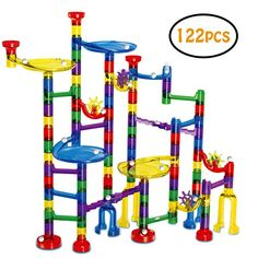 Marble Run - Meland 122 Pcs Marble Race Track Educational Building Blocks Set Construction Stem Learning Toys Marble Maze Game for 4 5 6 7 8 9 + Year Old Boys Girls Translucent Marbulous Pcs & 20 Glass Marbles) in Marble Runs. Marble Race, Marble Toys, Building Toys For Kids, Building Blocks Toys, Building Games, Stem Learning, Learning Toys, Toys For Girls, Gifts For Boys