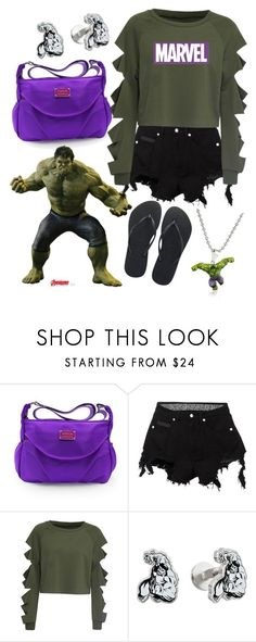 """Hulk Inspired"" by blondemommy ❤ liked on Polyvore featuring Marvel, County Of Milan, WithChic, Cufflinks, Inc., Havaianas and Marvel Comics"