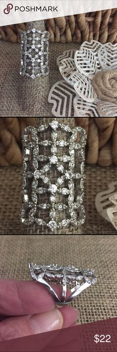 "Knuckle to Knuckle Lace Ring This is so pretty, the entire top of this looks like Lace to me with 1 ct of simulated diamonds ❤. Silver tone over brass base metal (so don't wear this one in the pool) it measures over 1 1/4""   Sz 6.5. New with tags. R301 Jewelry Rings"