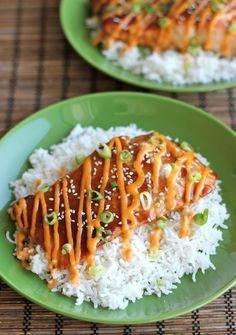 Teriyaki Salmon with Sriracha Cream Sauce - An easy dish with homemade teriyaki sauce and a sweet and spicy Sriracha cream sauce!  http://damndelicious.net/2012/05/30/teriyaki-salmon-with-sriracha-cream-sauce/
