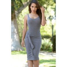 Gray Scoop Neck Knotted Front Midi Sweater Dress ($28) ❤ liked on Polyvore featuring dresses, grey, grey sweater dress, knot dress, calf length dresses, scoopneck dress and grey midi dress