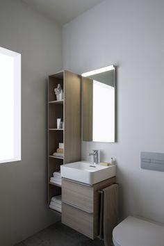 Bathroom Decoration With Bathroom Cabinets - Life ideas Mini Bad, New Bathroom Designs, Family Bathroom, Bath Vanities, Bathroom Cabinets, Modern, Vanity, House Design, Mirror