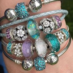 "Today's stack of gorgeous beads and bracelets. It's called ""power dressing"" for… **Pandora Bradshaws**"