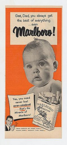 Vintage Marlboro ad - Yes, how bright to use babies in cigarette ads.