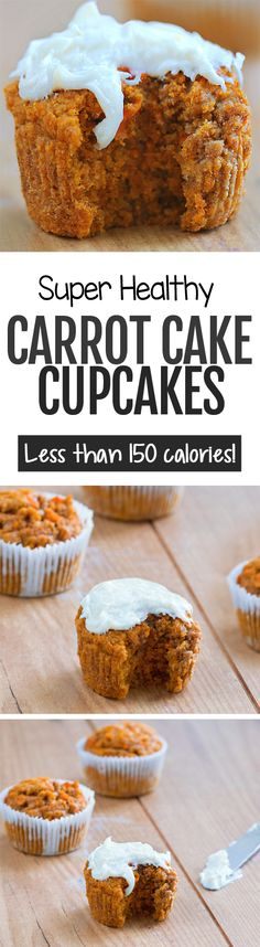 Super Healthy Carrot Cake Cupcakes - These delicious and healthy carrot cake cupcakes are perfect for breakfast or dessert and low in calories and vegan Vegan Sweets, Healthy Sweets, Vegan Desserts, Delicious Desserts, Yummy Food, Protein Desserts, Delicious Cupcakes, Carrot Cake Cupcakes, Cupcake Cakes