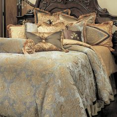 The soft and elegant design of the Elizabeth luxury bedding from the Michael Amini Bedding Collection by AICO will turn your bedroom into a sanctuary. All AICO bedding is available in Queen and King comforter sets. Luxury Bedding Collections, Luxury Bedding Sets, Damask Bedding, Brown Bedding, Coverlet Bedding, Custom Bedding, Pillow Shams, Bed Pillows, Queen Comforter Sets