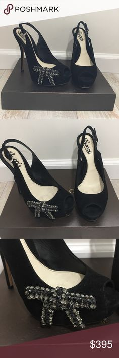 Gucci Shoes Stunning Gucci shoes!  Black suede with a back closure. One embellished stone bow (only on one shoe done on purpose).  Almost perfect condition!  Size 6.  No trades and no holds. Gucci Shoes Heels