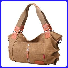 MOMO Womens Textured Canvas Multi Pocket Shoulder Tote Sports Sports Canvas Bags Outdoor Shopper Handbags Coffee - Totes (*Amazon Partner-Link)