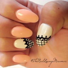 Lace gel acrylic nails