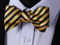 Highlighter Stripe Bow Tie and Pocket Square Gold Bow Tie, Black Bow Tie, Yellow Stripes, Blue Yellow, Navy Blue, Rain Costume, Preppy Style, Preppy Fashion, Men Fashion