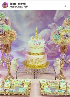 Unicorn Theme Baby Shower Dessert Table and Decor