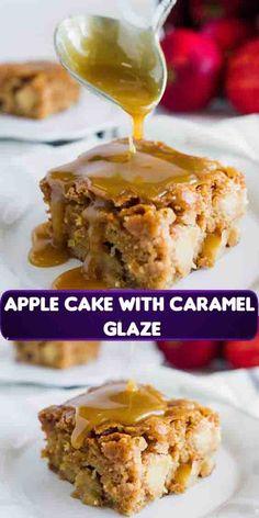 Apple Cake With Caramel Glaze Recipe Apple Dessert Recipes, Sweet Desserts, Apple Recipes, Baking Recipes, Delicious Desserts, Cake Recipes, Apple Deserts, Dinner Recipes, Caramel Glaze Recipe