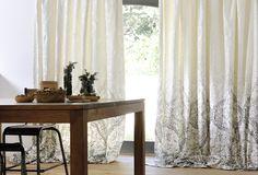 Sumba fabric. Large jacquard print and matching solids for a majestic decor. Useful width 300cm http://www.elitis.fr/en/fabric/collection-sumba-256#.VXGuB8_tmko #jacquart, #fabric, #curtain, #elitis