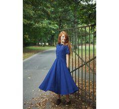 Blue Linen Dress Navy Blue Maxi Dress Wedding Guest Dress