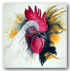 Le coq - Rooster - Hahn - Watercolor by Maria Inhoven www.aquarelle-inhoven.de